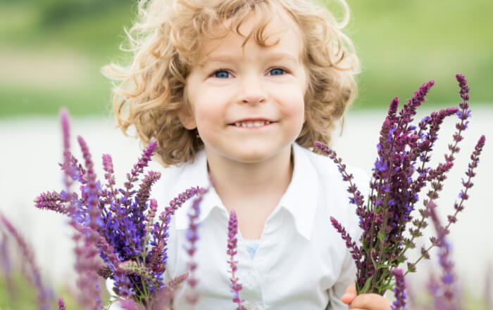 child with lavender